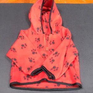 Hooded sweatshirt velourish red  6-12 mo